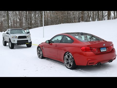 BMW M4 vs Toyota Tacoma Snow Tow