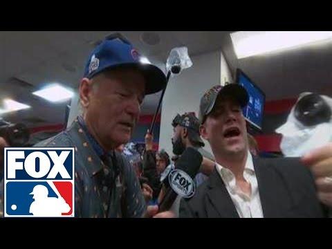 Bill Murray celebrates World Series win in Cubs locker room | 2016 WORLD SERIES ON FOX
