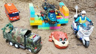 Motorbike Police & Helicopter Toys Rescue Tayo The Little Bus from Military Vehicles for Kids