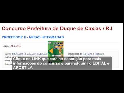 Concurso prefeitura de Duque de Caxias/RJ - APOSTILA E EDITAL(OFICIAL) 2015
