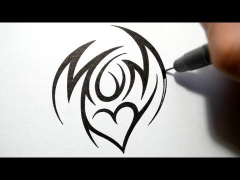 How to Draw Mom - Tribal Tattoo Design Style