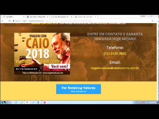 Até sexta feira que vem! Mais uma chance para quem deseja viajar com o Caio em 2018