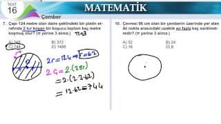 6.SINIF MATEMATİK ÇEMBER MEB KAZANİM TESTİ 16