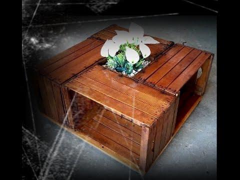 Tavolino con 4 cassette in legno tutorial youtube for Cassette di legno per arredare