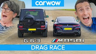 AMG G63 vs BMW M850i - DRAG RACE... with my 71-year-old mom!
