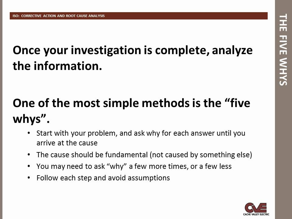 iso corrective action and root cause analysis