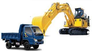 Truck and excavator videos for kids - Máy xúc múc đất cho xe tải chở