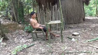 Primitive Technology:used-Build Chair and Table-Dinner-Primitive Life!