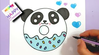 HOW TO DRAW A CUTE PANDA DONUT EASY STEP BY STEP