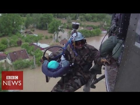 Baby rescued in Bosnia from Balkan floods- BBC News