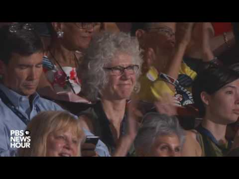 Gold Star mother Sharon Belkofer introduces President Barack Obama at DNC 2016