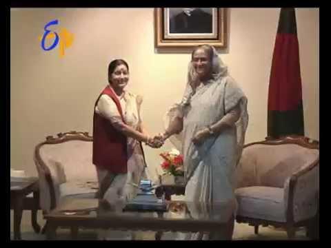 Sushma Swaraj meets Bangladesh PM Sheikh Hasina
