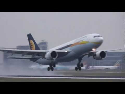 3 Jet Airways A330-200 Wet Take-off at Brussels Airport