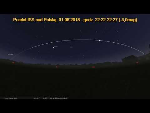 01.06.2018 Przelot stacji ISS nad Polską. (Symulacja)