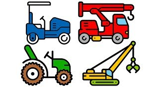 Car for kids   Fire-Truck, excavator, tractor coloring pages   Binbon Kids TV