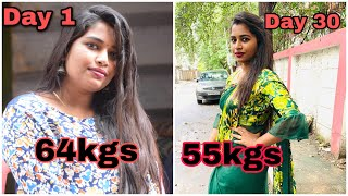 How i lost 9-10kgs in a month | 7days weightloss challenge| diet plan |punnagai pen