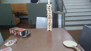 "Dude imperfect stunt with ping pong balls and Jenga blocks ""GONE WRONG'"