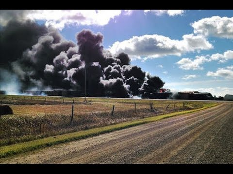 Saskatchewan train derailment VIDEO, catches fire