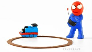Spiderman & T-REX DINOSAUR play with Thomas & Friends train set ● Play Doh Stop Motion kids playtime