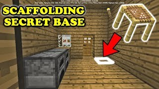 MCPE How To Make SCAFFOLDING SECRET BASE ✔️