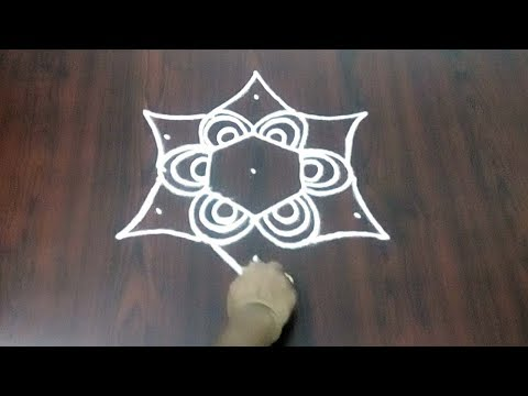 Simple Star Kolam ||  Easy Beautiful Star Design 5 x 3 With Dots Design || Fashion World