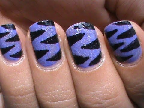 Purple Tiger Nail Art Designs