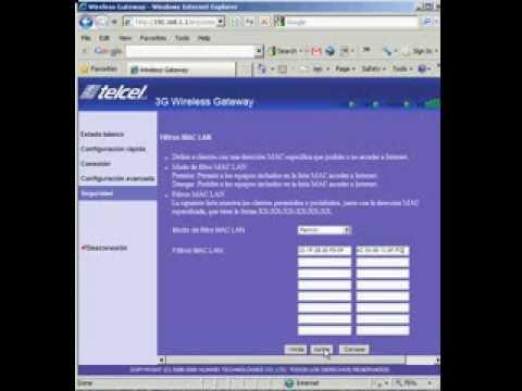 configuracion de Filtros MAC en router Huawei e968 Telcel 3G.avi