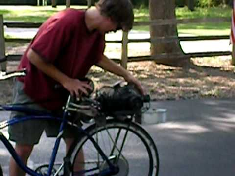 Starting The Agitator Maytag 92 powered bicycle