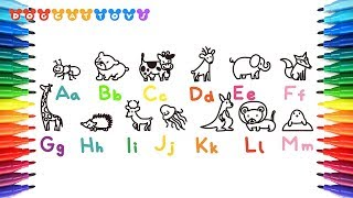 Learn Alphabet A to Z with Animals | Learn Colors for kids | Alphabets Coloring and Drawing #130