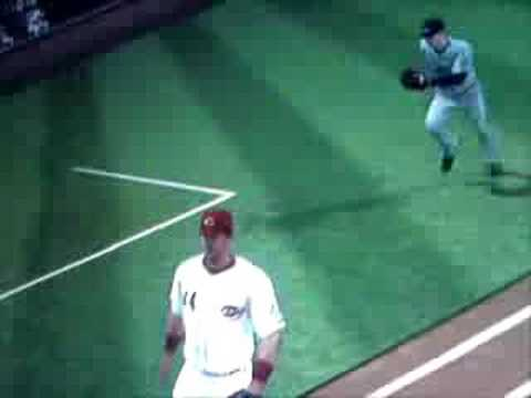 Evan Longoria batting with fielding glove in MLB the Show 08 Video