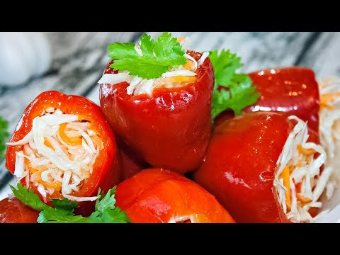 ВКУСНЕЙШАЯ ЗАКУСКА - маринованный перец, фаршированный капустой (постный рецепт)