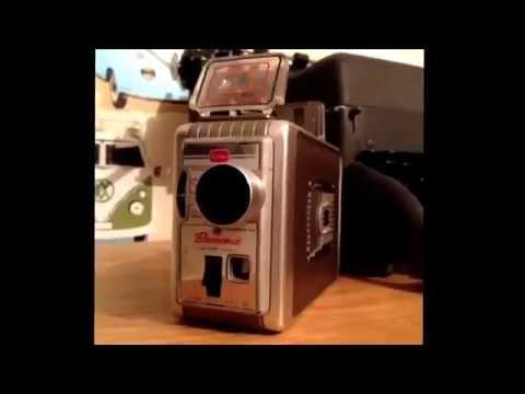 Vintage Kodak Brownie 8mm video camera in original brownleather hard case