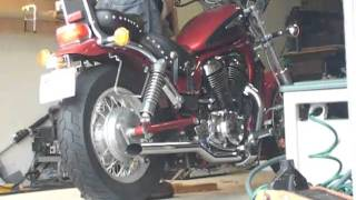 suzuki intruder with Hard Krome drag pipes
