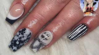 Nightmare before Christmas Halloween nails ~ jack skellington ~ black and white ~ colour blocking 🖤