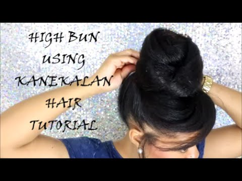 HIGH BUN USING KANEKALON HAIR TUTORIAL