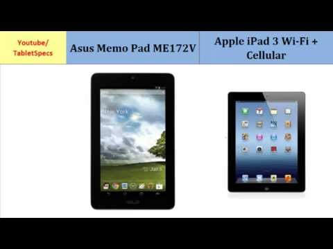 Asus Memo Pad ME172V  - Apple iPad 3 Wi-Fi + Cellular, all specifications