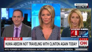 CNN reports on Huma Abedin being absent from Clinton's campaign plane