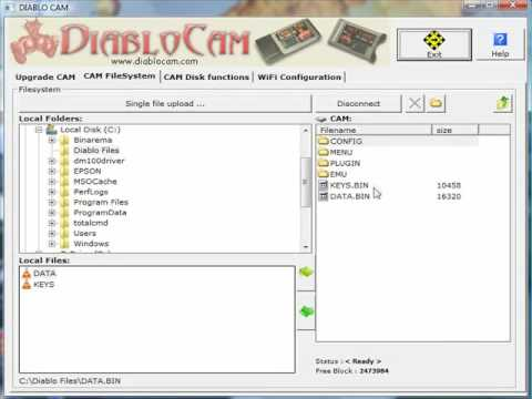 Diablo Cam Tutorial - How to upload KEY.BIN & DATA.BIN Files using CAS Studio