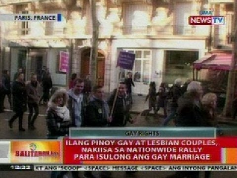 Bt: Ilang Pinoy Gay At Lesbian Couples Sa Paris, Nakiisa Sa Rally Para Isulong Ang Gay Marriage video