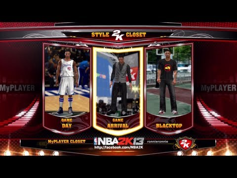 NBA 2K13 MyCAREER - MyPLAYER Closet | Choose Your Own Game Day, Game Arrival & Blacktop Apparel