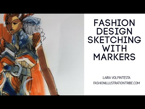 Fashion Sketching with markers- fashion design and illustration