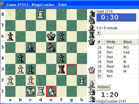 Chess World.net: Blitz #183 vs Valet (2319) - Sicilian Defense : O'Kelly variation (B28)