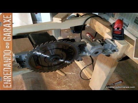 Sierra de mesa hecha con la ingletadora. Table saw I made with my old miter saw.