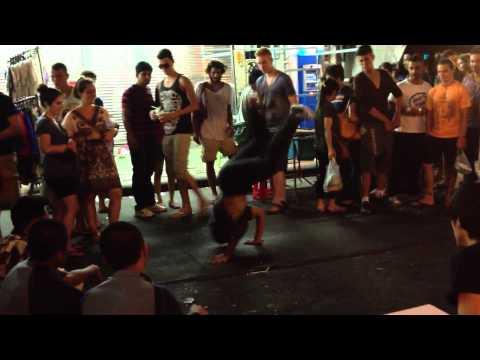 Young Teens Breakdancing on Kao San Road, Bangkok, Thailand