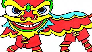 How to Draw Lion Dance - Coloring Pages for kids - Learn colors  with cloudy art
