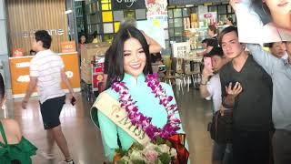 Hoa hậu trái đất Phương Khánh bị bao vây suýt ngất ở sân bay khi về nước