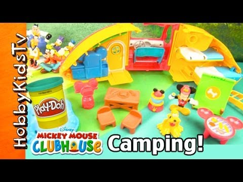 Mickey Mouse Clubhouse CAMPER Toy! Play-Doh Flood Surprise Toy, Disney Minnie Go