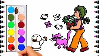 How to draw girl and flowers for children - drawing and coloring for kids - bé yêu