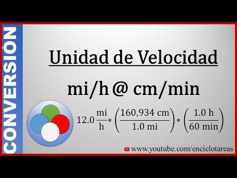 Convertir de millas/horas a centímetros/minutos (mi/h a cm/min)