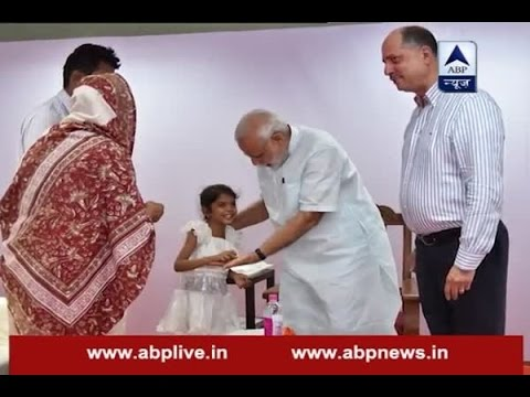 Pune: PM Modi meets six-year-old Vaishali who wrote him for heart surgery